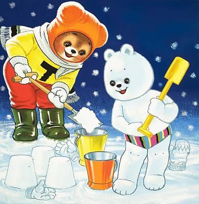 Bear Drawing - Teddy Bear Christmas Card by William Francis Phillipps