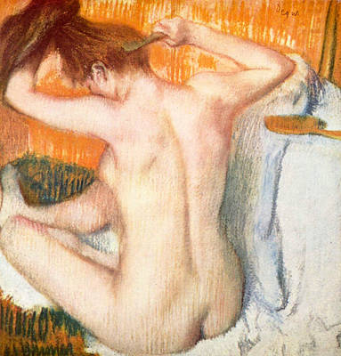 Impressionist Painting - Woman Combing Her Hair by Edgar Degas
