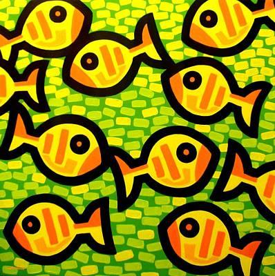 Tropical Fish Painting - 10 Yellow Fish by John  Nolan