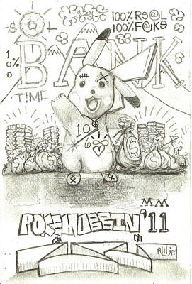 Artist Trading Cards Drawing - 100 Percent Bank by Robert Wolverton Jr
