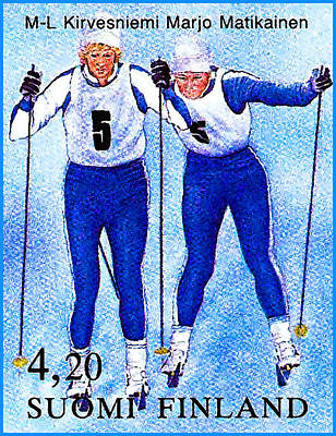 Cross-country Skiing Painting - 100 Years Ioc Cross-country Skiing 1 by Lanjee Chee