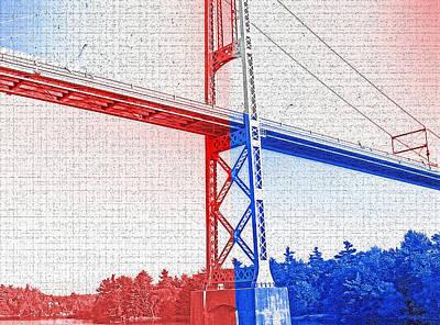 Historical Bridges Digital Art - 1000 Island International Bridge 2 by Steve Ohlsen