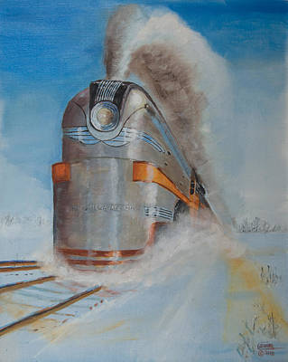 Train Painting - 104 Mph In The Snow by Christopher Jenkins