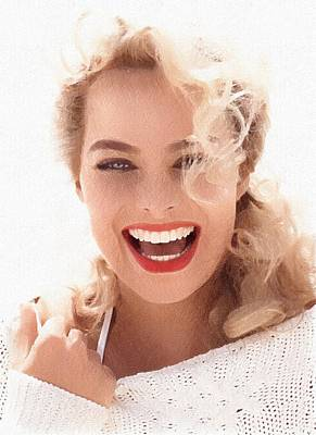 Grace Kelly Digital Art - Hollywood Star Margot Robbie by Best Actors