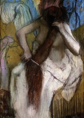 Toilet Painting - Woman Combing Her Hair by Edgar Degas