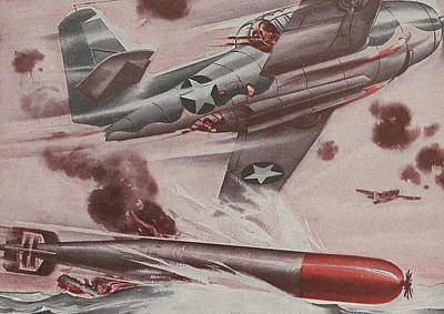 Us Navy Drawing - World War II Advertisement by American School