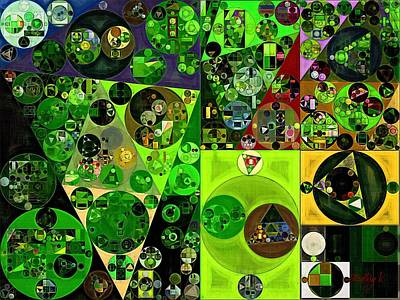 Forms Digital Art - Abstract Painting - Dark Jungle Green by Vitaliy Gladkiy
