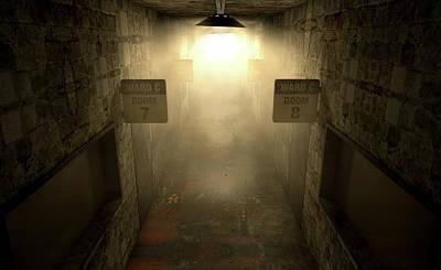 Dilapidated Digital Art - Mental Asylum Haunted by Allan Swart