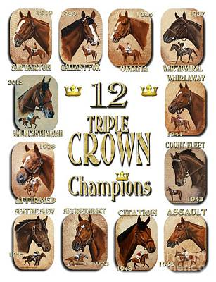 12 Triple Crown Champions Print by Pat DeLong