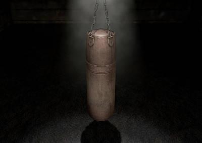 Punching Digital Art - Vintage Leather Punching Bag by Allan Swart