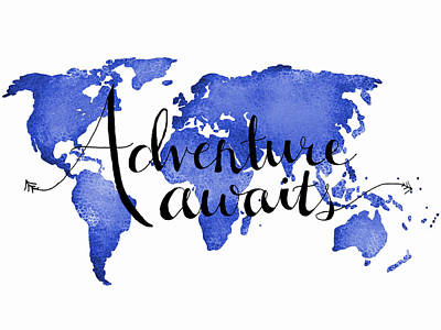 World Digital Art - 12x16 Adventure Awaits Blue Map Art by Michelle Eshleman