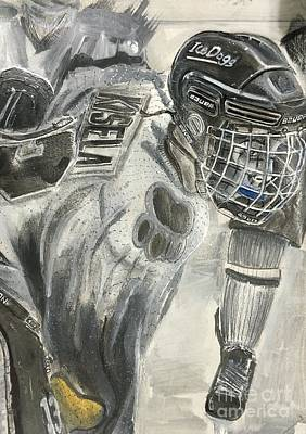 Youth Hockey Drawing - #13 Jack Kisela by Gary Reising