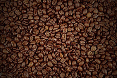 Dark Background Photograph - Coffee Beans by Les Cunliffe