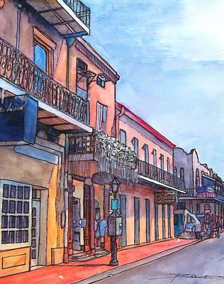 Mardi Drawing - 14  French Quarter Street by John Boles