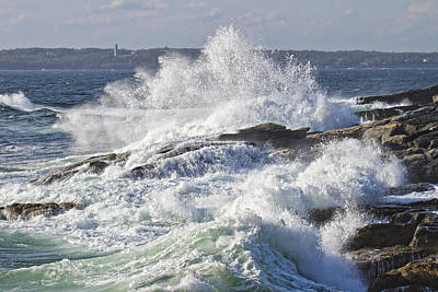 Turbulent Digital Art - Large Waves Near Pemaquid Point On The Coast Of Maine by Keith Webber Jr