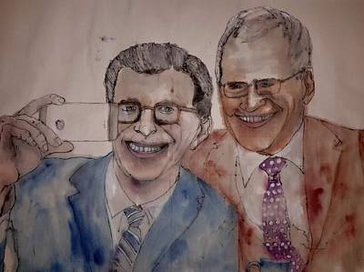 Letterman Painting - Seinfeld Comedy In Cars Album And Corden Comedy by Debbi Chan