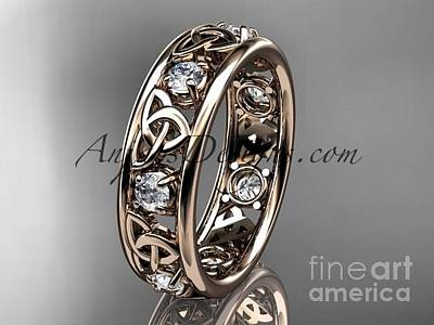 Jewelry - 14kt Rose Gold Celtic Trinity Knot Wedding Band, Engagement Ring Ct7160b by AnjaysDesigns com