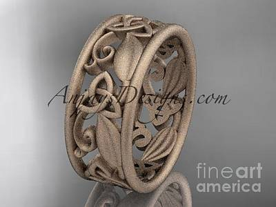 Jewelry - 14kt Rose Gold Celtic Trinity Knot Wedding Band, Matte Finish Wedding Band, Engagement Ring Ct7150g by AnjaysDesigns com