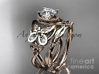 Jewelry - 14kt Rose Gold Diamond Celtic Trinity Knot Wedding Ring Moissanite Center Stone Ct7136s by AnjaysDesigns com