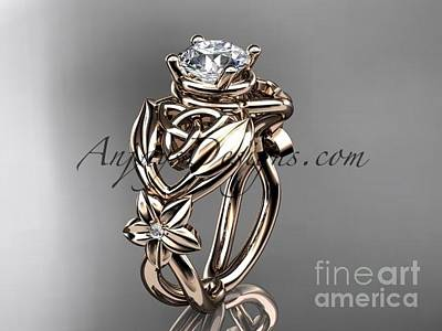 Jewelry - 14kt Rose Gold Diamond Celtic Trinity Knot Wedding Ring  Moissanite Center Stone Ct7501g by AnjaysDesigns com