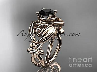 Jewelry - 14kt Rose Gold Diamond Celtic Trinity Knot Wedding Ring With A Black Diamond Center Stone Ct7501 by AnjaysDesigns com
