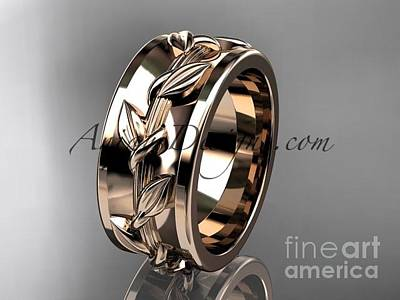 Jewelry - 14kt Rose Gold Diamond Engagement Ring, Wedding Band Adlr417b by AnjaysDesigns com