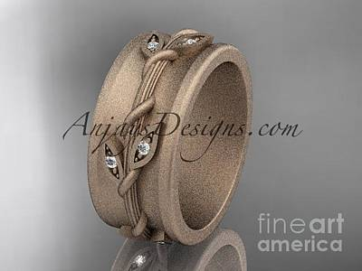 Jewelry - 14kt Rose Gold Engagement Ring, Matte Finish Wedding Band Adlr417g by AnjaysDesigns com