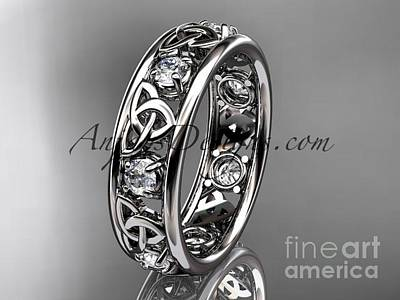 Jewelry - 14kt White Gold Celtic Trinity Knot Wedding Band, Engagement Ring Ct7160b by AnjaysDesigns com