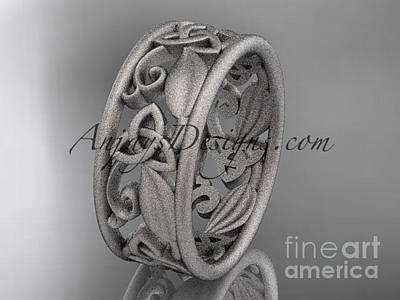 Jewelry - 14kt White Gold Celtic Trinity Knot Wedding Band, Matte Finish Wedding Band, Engagement Ring Ct7150g by AnjaysDesigns com