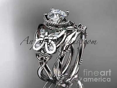 Jewelry - 14kt White Gold Diamond Celtic Trinity Knot Wedding Ring Moissanite Center Stone Ct7136s by AnjaysDesigns com