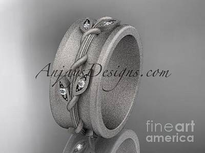 Jewelry - 14kt White Gold Engagement Ring, Matte Finish Wedding Band Adlr417g by AnjaysDesigns com