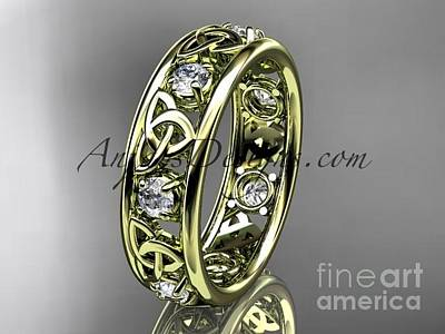 Jewelry - 14kt Yellow Gold Celtic Trinity Knot Wedding Band, Engagement Ring Ct7160b by AnjaysDesigns com