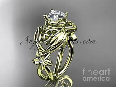 Jewelry - 14kt Yellow Gold Diamond Celtic Trinity Knot Wedding Ring, Engagement Ring Ct7501 by AnjaysDesigns com