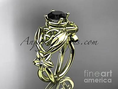 Jewelry - 14kt Yellow Gold Diamond Celtic Trinity Knot Wedding Ring With A Black Diamond Center Stone Ct7501 by AnjaysDesigns com