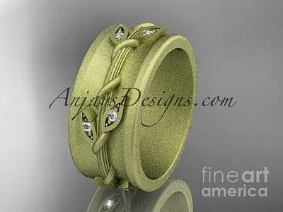 Jewelry - 14kt Yellow Gold Engagement Ring, Matte Finish Wedding Band Adlr417g by AnjaysDesigns com