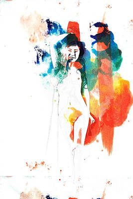 Nude Painting - Suro Female Nude Watercolor Painting Fine Art Print Or Picture P by Kendree Miller