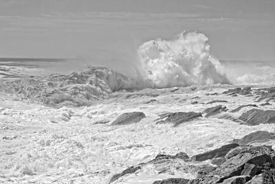 Turbulent Digital Art - Black And White Large Waves Near Pemaquid Point On The Coast Of  by Keith Webber Jr