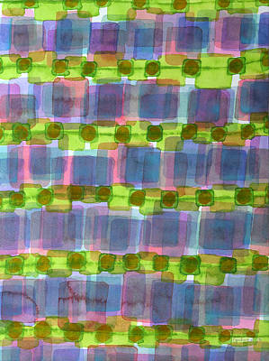Abstract Painting - Purple Square Rows With Fluorescent Green Strips  by Heidi Capitaine