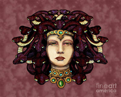 Gorgon Digital Art - 16x20 Medusa 2 Red by Dia T
