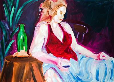Women With Wine Painting - 17 by Gene Traganza