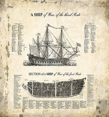 1728 Illustrated British War Ship Print by Daniel Hagerman