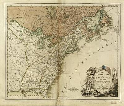 Revolutionary War Mixed Media - 1783 United States Of America Map by Dan Sproul