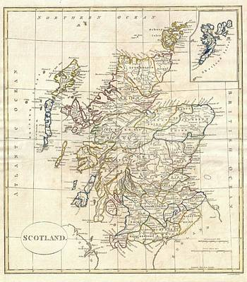 Great Britain Mixed Media - 1799 Scotland Map by Dan Sproul