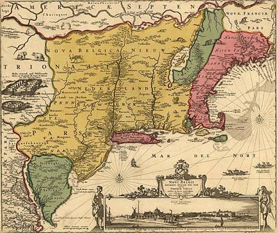 17th Century Map Of Land That Became Print by Everett