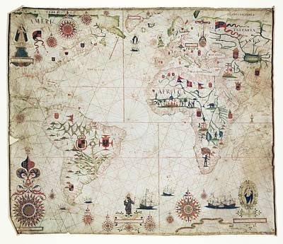 Nautical Chart Photograph - 17th Century Nautical Map Of The Atlantic by Library Of Congress