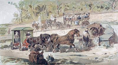 Seventeenth Century Drawing - 17th Century Transport Scene. A Public by Vintage Design Pics