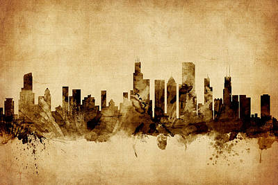 Chicago Skyline Digital Art - Chicago Illinois Skyline by Michael Tompsett