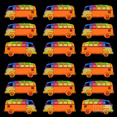 Bus Photograph - 18 Surfer Vans by Edward Fielding