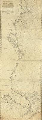 Maine Coast Mixed Media - 1807 North America Coastline Map by Dan Sproul