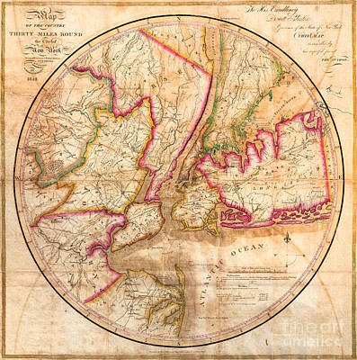 1828 New York City Map Print by Jon Neidert